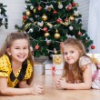 Two little girls near the Christmas tree with gifts — Stock Photo #26910111