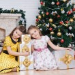 Two little girls near the Christmas tree with gifts — Stock Photo #26910201