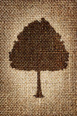 A silhouette of a tree painted brown paint on the cloth — Stock Photo