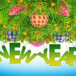 New year, Christmas tree toys on a blue background — Stock Photo