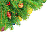 New year, Christmas tree with toys isolated on a white background — Foto de Stock