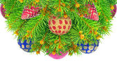 New year, Christmas tree with toys isolated on a white background — Stock Photo