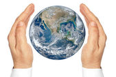 "Hands holding the planet Earth isolated on a white background.""Elements of this image furnished by NASA"". — Stock Photo"