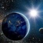 Постер, плакат: Sunrise over the planet and satellites in space