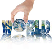 Hand holding planet Earth on a background of the inscription WORLD — Stock Photo