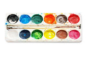 Palette watercolor paints, isolated on white background — Stock Photo