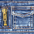 Denim fabric with pocket and zipper — Stock Photo #48047269