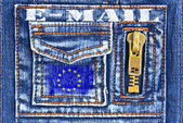 Denim material with a pocket in the form of European mailbox — Stock Photo
