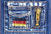 Denim material with a pocket in the form of German mailbox — Stock Photo