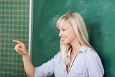 Teacher pointing on someone in the classroom — Stock Photo