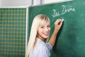 Piękne blond nauczycielka — Zdjęcie stockowe