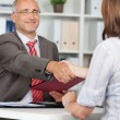 Stock Photo: BusinessmShaking Hands With Female Candidate