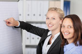 Businesswoman Giving Presentation While Standing With Coworker — Stock Photo