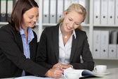 Businesswomen Working On File At Desk — Stock Photo