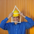 Architect Holding House Frame Against Trailer — Stock Photo