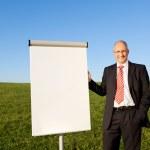 Businessman Standing By Blank Flipchart On Grassy Field — Stock Photo #25844901