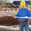 Businessman Examining Blueprint At Construction Site — Stock Photo
