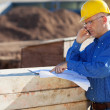 Stock Photo: Architect Pointing At Blueprint While Using Mobile Phone