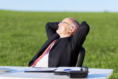 Businessman With Hands Behind Head At Desk On Field — Stockfoto