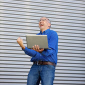 Excitação empresário outddor — Foto Stock