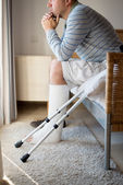 Injured Man in deep thoughts — Stock Photo