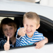 Children in car — Stock Photo