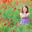 Girl with wheat bread — Stock Photo