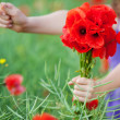 Girl with a bunch of red poppies — Stock Photo