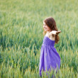 Young girl playing in a wheatfield — Stock Photo