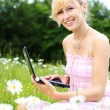 Blond woman with her laptop amongst daisies — Stock Photo