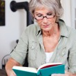 Senior woman reading with reading glasses — Stock Photo