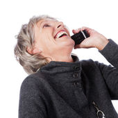 Laughing senior lady on the telephone — Stock Photo