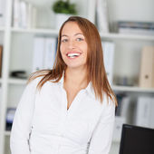 Young Businesswoman Smiling Happily — Stock Photo
