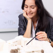 Female architect planing building — Stock Photo