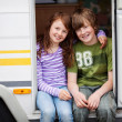 Boy And Girl In Caravan — Stock Photo #25975097