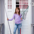 Girl Holding Fishing Net And Rod At Camping House — Stock Photo