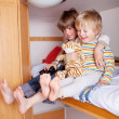 Two happy Boys In A Caravan — Stock Photo
