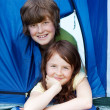Brother And Sister Lying In Tent At Forest — Stock Photo