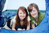 Brother And Sister Lying In Tent — Stock Photo