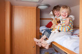 Two Boys In A Caravan — Stock Photo