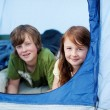 Kids Lying In Tent — Stock Photo