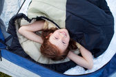 Portrait Of Cute Little Girl Lying In Tent — Stock Photo
