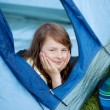 Girl Looking Away While Lying In Tent — Stock Photo
