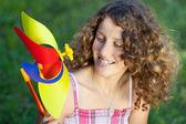 Teenage Girl With Pinwheel — Fotografia Stock