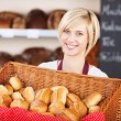 Waitress With Bread Basket In Cafe — Stock Photo #26007559