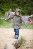 Young Boy Walking On Wood At Park — Stock Photo