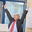 Businessman With Arms Raised Celebrating Victory — Stock Photo #26010711
