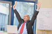 Businessman With Arms Raised Celebrating Victory — Stock Photo