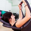 Stock Photo: Young attractive brunette womexercising in gym