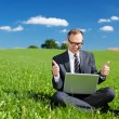 Man working outdoors in nature — Stock Photo